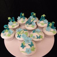 Blue Themed Name & Butterfly Cupcakes