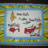 Dr. Seuss Baby Shower Cake This cake was done to match the Dr. Seuss baby shower theme. I made the pattern by copying the napkin and enlarging it then cutting out...