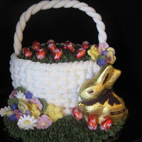 Easter Basket  Easter Basket cake! Lemon cake with lemon filling. Basket weave and grass are buttercream, flowers are royal icing and the handle is...