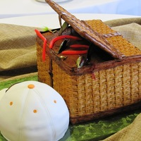 Fishing Basket And Hat Groom's Cake