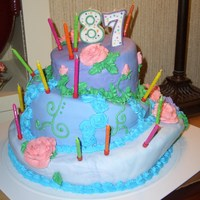 87 Topsy Turvy This was my first attempt at a topsy turvy cake and my first attempt at covering with fondant and my first time making buttercream roses. I...