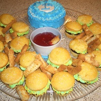 Hamburger And Fries Inspired by CC, white cupcakes with a brownie in the center held together with vanilla buttercream that looks like lettuce and mustard. The...