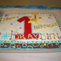 Boy's 1St Birthday! This was a wonderful baby boy's first birthday cake. The cake was made to match his invitations and party supplies. The smash cake was...