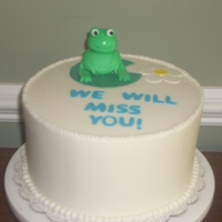 Frog Cake Vanilla cake with BC frosting and fondant accents.
