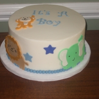 Safari Baby Shower Vanilla cake with BC and fondant and GP accents. The colors matched the invites.