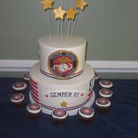 Military Marine Cake Top layer is vanilla, Bottom is WASC. All BC with MMF and fondant accents. Thanks to all the CCers who inspired and gave support!