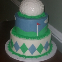 Golf Cake Vanilla, Coconut and WASC cakes with BC frosting and fondant accents.