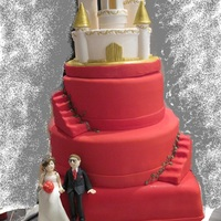 White Castle With Red 3 Tier Cake