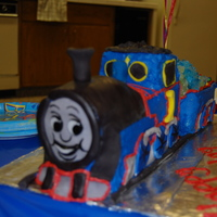 "Thomas The Train for my nephews 5th birthday...all edible...cake, buttercream, fondant...the car in back was hauling ""jewels""(rock candy & m&..."
