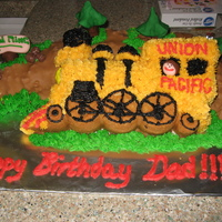 Train Birthday Cake My Dad drives a coal train so my sister and I thought we would give him a train cake. We just started decorating cakes back in Febuary. The...