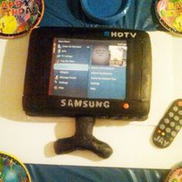 Flat Screen Tv Cake on the verizon fios menu channel made from edible image