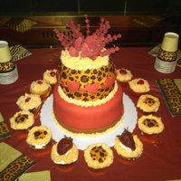 Leopard And Red Birthday Cake