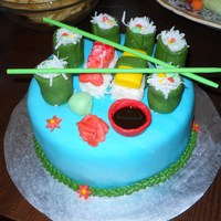 Sushi Cake This is a cake I made for a sushi lover. The rolls are made out of colored fondant blocks to simulate the stuff inside, rolled green...