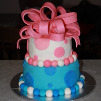 Girl/boy Baby Shower Cake  I made this baby shower cake for a lady that did not know the gender of her little one. I wasn't very happy with the fondant bow. It...