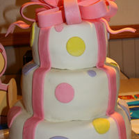 Two Tier Bridal Shower Cake 8 and 6 inch layers with fondant bow and dots.
