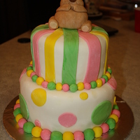 Bear Birthday Cake I made this two tier cake for a Build a Bear birthday party. The bear was molded out of fondant.