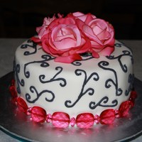 Pink And Black Single Tier Cake