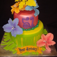 Luau Tropical birthday cake, so tried doing a grass skirt witth tropical colored gumpaste flowers.