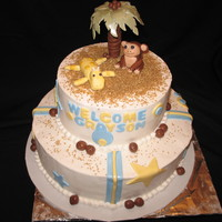 Palm Tree Baby Shower Cake Two layer buttercream, used tooties rolls for monkey and coconuts, fondant for other decorations