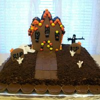 Graveyard Cake Haunted House/ Dirt Graveyard Cake for a Halloween Work Party. Half Chocolate, Half Butter Pecan, & Chocolate Buttercream Icing. (Didn...