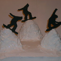 Snowboarder   snowboard cake,mountains are rice krispy treats,snowboarders are fondant