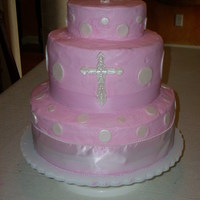 Baptisim Cake   Cross is made out of gumpaste