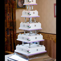 "Wedding Cake Number 4 Five tier square wedding cake12"" rich fruit cake10"" victoria8"" strawberry6"" plain sponge4"" chocolateFlowers made..."