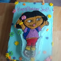 Dora The Explorer Cake This was made for a 3 year old's Birthday Party. The woman wanted the Dora cake but again for 60 people. So again I made a sheet cake...