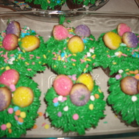 Easter Cupcakes Vanilla cupcakes with BC grass and sugar cookie eggs.