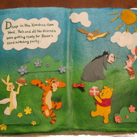 Pooh Book   pooh book cake for a three year olds birthday party
