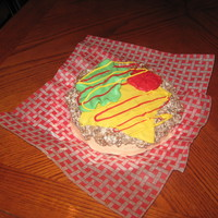 Hamburger Birthday Cake   Bun is white cake, patty is chocolate rkt, condiments are icing and mmf.