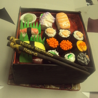 Sushi Bento Box Birthday Cake This is the finished cake. I had made several sushi pieces that were to go into it. Sadly, the lid for the box couldn't stand up to...