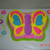 Butterfly Cake For First Birthday! I made this cake for the first birthday of my friends daughter. I love the colors.