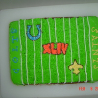Super Bowl Xliv Cake Half Chocolate, Half White sheet cake with homemade BC frosting