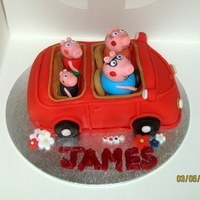 Peppa Pigs Car   Chocolate cake with regalice characters