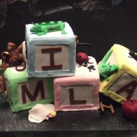 Baby Shower Baby Blocks cake, name of baby on the blocks and each block was made to look like it was coming to life. For example: M cake has a mouse...