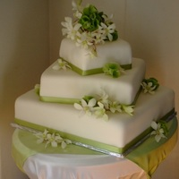 Locake fondant, silk ribbon, bells of Ireland and orchids