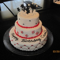 My Daughter's 16Th Birthday Cake I made this for my daughter's birthday. All she told me was big and be red, black, and white. So I sketched out a design and this is...