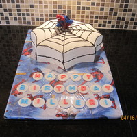 Spiderman I like how the cake turned out. I just need to work on those piping skills some more! Chocolate cake with buttercream and fondant....