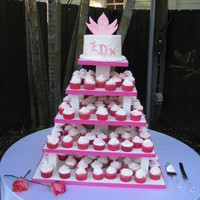 Small Wedding Cake And Cup Cakes For my daughters wedding this past week end I made a small cake and cup cakes. Her colors were pink so the cake and cup cakes had pink and...