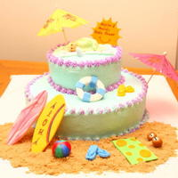 Beach Theme Baby Shower Cake 6 inch on top of 10 inch cake with BC icing and fondant accents