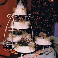 Wedding Cake 12-2-2000 This was the cake I made for my own wedding. Very simple, main section was basic french vanilla cake and satellites were chocolate, all...