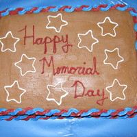 Memorial Day Cake I used chocolate buttercream frosting. I made the stars by placing a cookie cutter lightly on top of the frosting and then tracing the mark...