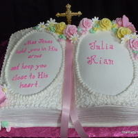 Religious Theme Cakes Buttercream frosted with royal frost. flowers.