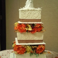 "Anastasia SRUARE WEDDING CAKE.3 TIER. 6"" 10"" 14"". FALL COLORS. CHOCOLATE BROWN,SAFFRON, AND PERSIMMON,"