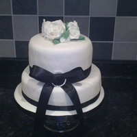 White Quilted Roses Cake