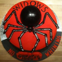 Widows Motorcycle Club Cake I made this for a friend it was her 25th wedding anniversary, but wanted their motorcycle club emblem on the cake. The whole cake is edible...
