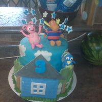 Backyardigans Cake Backyardigans cake. Gumpaste house, trees and figures. My first time make figures out of gumpaste...not too bad for my first time.