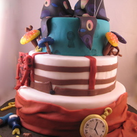Alice In Wonderland 2010 Made this cake after seen the new movie by Tim Burton. It's not as obvious and maybe a little dark compared to the old cartoons/movie...