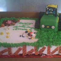 Little John Deere Tractor This was done for a friend's 1st grandson 1st Birthday. cereal treats for the tractor covered with fondant and modeling chocolate for...